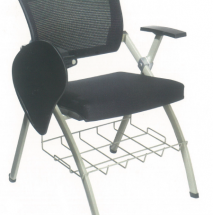 Foldable Black Office Chair with rack and writing pad