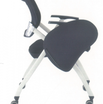 Foldable Black Office Chair with wheels and writing pad